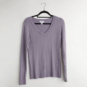 LOFT | Lilac V Neck Cable Sweater | Size M